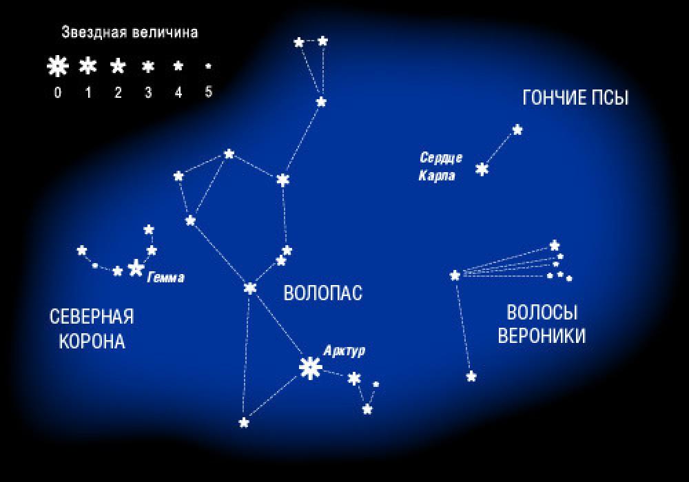 Звездная величина Созвездия Волопас
